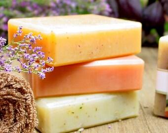 Soap Gift Set, 4 Natural Soaps, Bar Soap, Handmade Soap, Teacher Gift, Essential Oil Soap, Wedding Soap, Vegan Soap, Homemade Soap