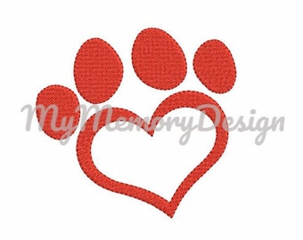 Dog Paw Heart Filled Stitch Embroidery Design - Animal embroidery - Valentines day design - Machine Embroidery File INSTANT DOWNLOAD 4 size