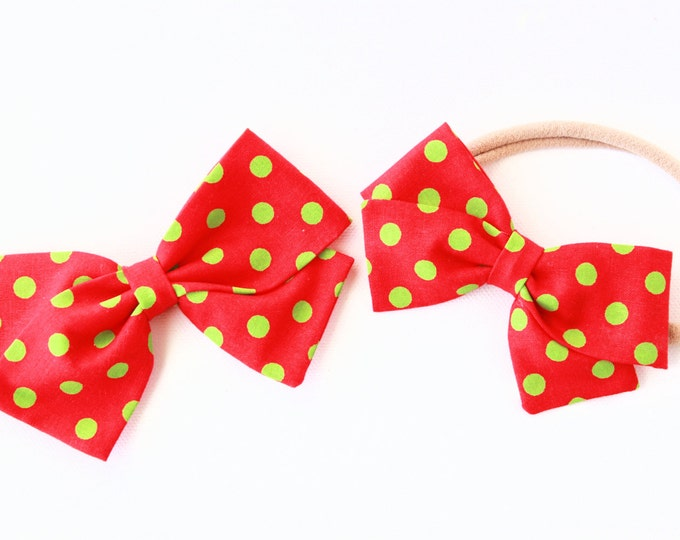 Christmas Hair Bows - Red and Green Bow - Bows for Girls