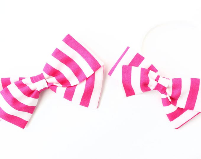 Hot Pink Baby Headband - White and Pink Striped Bow for Girls - Newborn Nylon Headband or clips