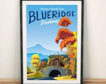 Blue Ridge Parkway | Autumn Seasonal | Travel Poster  | Unframed