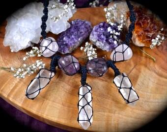 Handmade Ametrine, rose quartz and pink leumarian seed quartz point macrame necklace wrapped crystals healing crystal boho jewellery