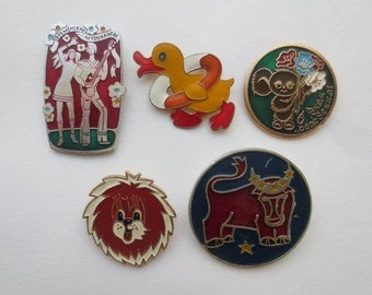 Large badges, Soviet badges, fairy-tale characters, cartoon characters, badges, pins, duck, lion, bull, Bremen Town Musicians, Cheburashka