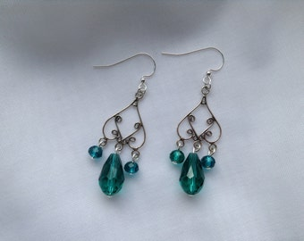 Amici. Sterling silver and emerald green chandelier earrings