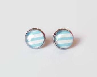 Stripe Print Earrings, Stripe Glass studs, Stud Earrings, Black White Earrings, hypoallergenic studs, 12mm studs, stainless steel studs