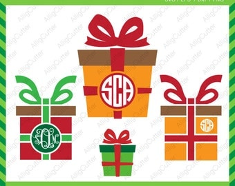 Christmas Present Boxes svg Monogram Frames SVG DXF PNG eps xmas Cut Files for Cricut Design, Silhouette studio, Digital download
