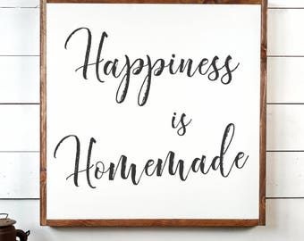 Happiness Is Homeade Sign, FREE SHIPPING, Happiness Sign, Homemade Sign, Farmhouse Sign, Wood Sign, Farmhouse Decor, Wooden Sign PS1038
