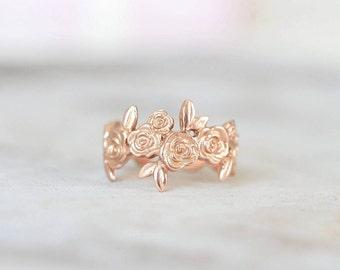 9ct Rose Gold Floral Adjustable Ring
