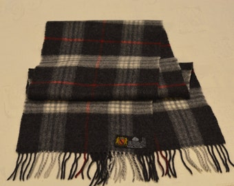 Vintage Very soft Grey Black Plaid Pure New Wool scarf. Made in Germany