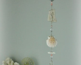 Serenity Seashell Hanging, Sea Glass Hanging