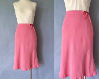 Vintage 100% solid buttery pink/blush silk midi/pencil skirt women's size S/M