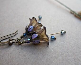 Boho Earrings - Flower Earrings - Bohemian Earrings - Floral Earrings - Purple Earrings - Dangle Drop Earrings - Woodland Earrings - Nature.