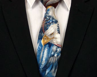 Bald Eagle Necktie, Bald Eagle Tie, Independence Day, 4th of July, American Bald Eagle, Red, White, Blue, Fathers Day, Birthday, Gift, Dad