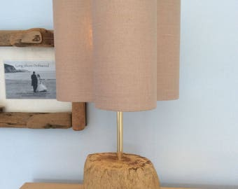 Driftwood Stump Lamp with Solid Brass Fittings