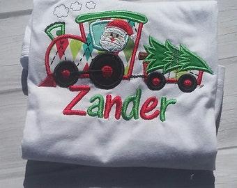 Boy christmas shirt, Santa shirt, Christmas train shirt, baby christmas shirt, first Christmas, Christmas tree shirt, baby boy christmas