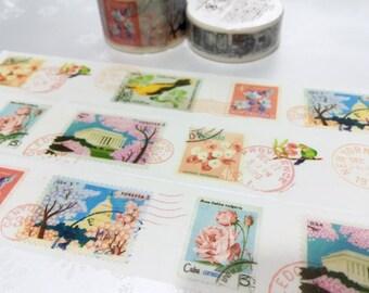 pretty birds postage stamp washi tape 10M x 3cm flower postage stamp pink tree flower postage stamp sticker postcard stamp decor gift