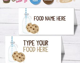 INSTANT DOWNLOAD - EDITABLE Milk and Cookies Food card Milk & Cookies Birthday buffet label place card Boys Milk and cookies party