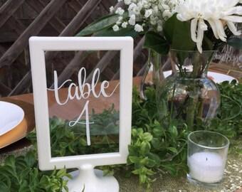 white frame wedding table number, wedding centerpiece, handwritten table number, custom wedding sign, white frame