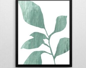 Sage Green Botanical Print, Minimalist Plant, Leaves, Scandinavian Art, Wall Decor, Abstract Wall Art, Modern Art Print, Giclee Print