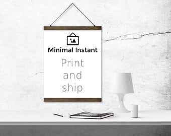 Any Minimal Instant Design Printed on Canvas with Poster Bar Hangers - Made To Order and Shipped to You - Custom Print