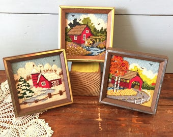 Set Vintage Needlepoint Pictures, Jiffy Kits, Farmhouse Chic, Log Cabin Chic, Farm Water Wheel, Covered Bridge, Vintage Needlework