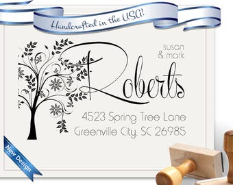 Tree and Calligraphy Return Address Stamp - Large - Perfect for Gifts, Realtor Gifts, Christmas, House Warming - SKU 1381