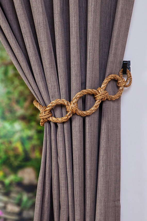 manila rope chain chunky curtain tiebacks nautical shabby chic. Black Bedroom Furniture Sets. Home Design Ideas