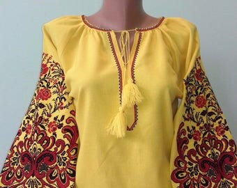 Ukrainian blouse vyshyvanka/Vyshyvanka/Peasant blouse/Vita-Boho-Style/embroidered shirt/boho blouse/Ukrainian clothing/women's clothing