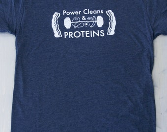 SALE!!! Crossfit Shirt, Men's workout T-shirt, Power Cleans and Proteins, Men's Crossfit Shirt, Workout Shirt, Gym Shirt