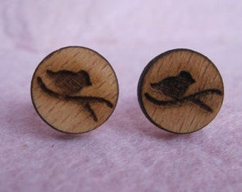 Wood earrings, bird earrings, wood earings, gift