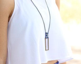 Rectangle pendant, gold and black pendant, long necklace, geometric pendant, brass pendant, urban necklace