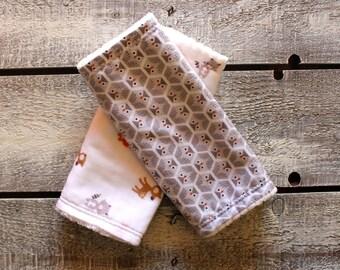 Organic Baby Burp Cloths, Burp Cloth Set, Owl Burp Cloths, Woodland Burp Cloths, Animal Burp Cloths, Chenille Burp Cloths