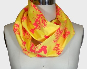 Infinity Scarf - Limited Edition Yellow/Pink Butterflies Print; Circle Scarf; Birthday Gift; Canadian Made; Canada150