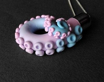 Octopus tentacle pendant - pastel rose-aqua blend tentacle necklace, tentacle octopus jewelry, octopus charm, sea, ocean, mermaid, squid