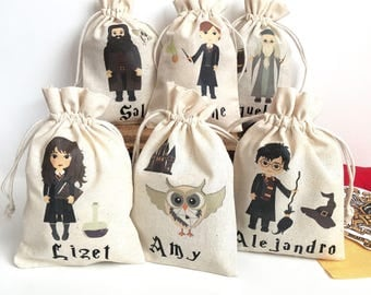 Personalized Harry Potter Goodie Bag - Party Favor Drawstring Bag Cotton Pouch. Witchcraft, Castle, Hermione, Owl, School of Wizards, Magic