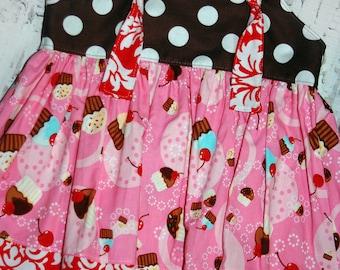 SALE 25% off,Birthday dress, Toddler dress, knot dress,Ready to ship dress, size 12-18M dress, cupcake dress