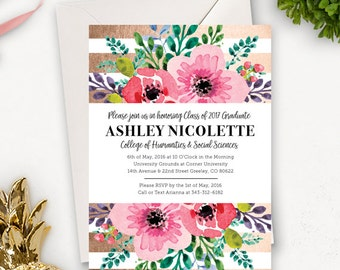 College Graduation Invitation Template / Floral Graduation Announcement / Graduation Party Invitations Printable