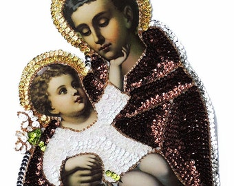 St Anthony and baby Jesus sequins and beads large applique patch, Saints patch