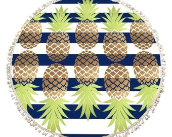 Blue & White striped Roundie with Pineapple Print