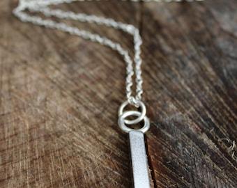 Long silver bar necklace, minimalist necklace, thick silver bar pendant, long silver necklace, vertical bar necklace,