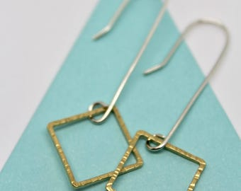Long dangly square earrings, mixed metal square earrings,square gold and silver earrings, geometric earrings,