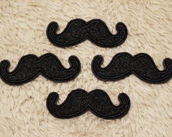 """Moustache Patch,Moustache Iron On Patch,Applique Embroidered Iron On Patch,Sew On Patch,Size 2"""" x 0.5"""" (5 x 2 cm)"""