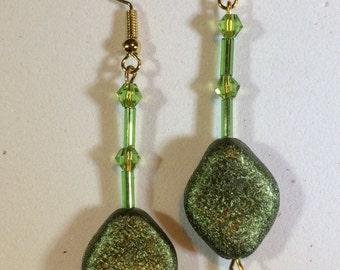 Green Glitter Effect Earrings