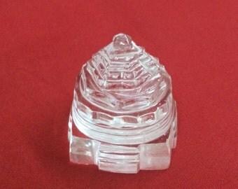 Natural Crystal Quartz Shree / Shri Yantra - Ice-Like Super Fine Rock Crystal Sri Yantra - Himalayan Crystal Quartz Shree Yantra