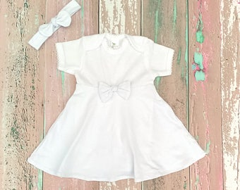Infant White Dress, Simple Baptism Dress, Baby Wedding Dress, Christening Gown, Baptism Outfit Girl, Baby Dress w/ Bow, Casual Baby Clothes