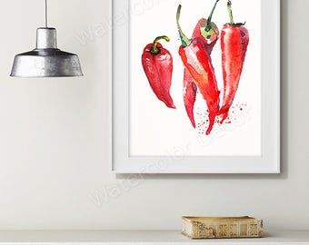 Chili Peppers Watercolor Art Print - Vegetable Watercolor - Kitchen Wall Decor - Kitchen Art Print Housewarming Gift