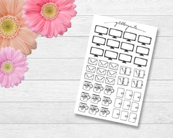 Handdrawn Planner Icon Stickers (Letter, Planner, TV, Coffee)