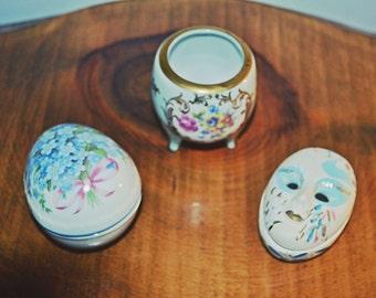 3 Trinket, Pill Boxes, Porcelain Boxes, Reutter, PM Porzellan, Harlequin Face, Ring Dish