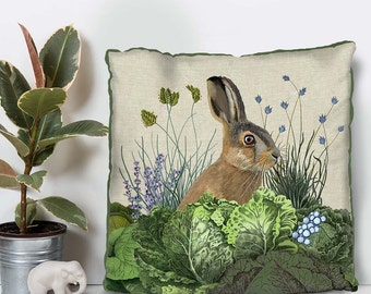 Rabbit cushion Decorative Green Pillow Cabbage Patch3 green accent pillow bunny pillow Rabbit pillow Woodland Cushion Woodland décor throw