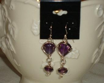 Purple Heart Shaped Wire Wrapped Glass Bead Long Dangle Earrings Drop Earrings Valentine's Earrings FREE SHIPPING